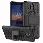 Dual Layer Rugged Tough Case & Stand for Nokia 3.1 - Black